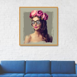 تابلو دیواری مدل فلاور لیدی , دیجیتال آرت , تابلو دیجیتال آرت , جدیدترین مدل تابلو دیواری , تابلو دکوراتیو , فروش تابلو مدرن برجسته , سایت سوران , تابلو دیواری مدل شیک